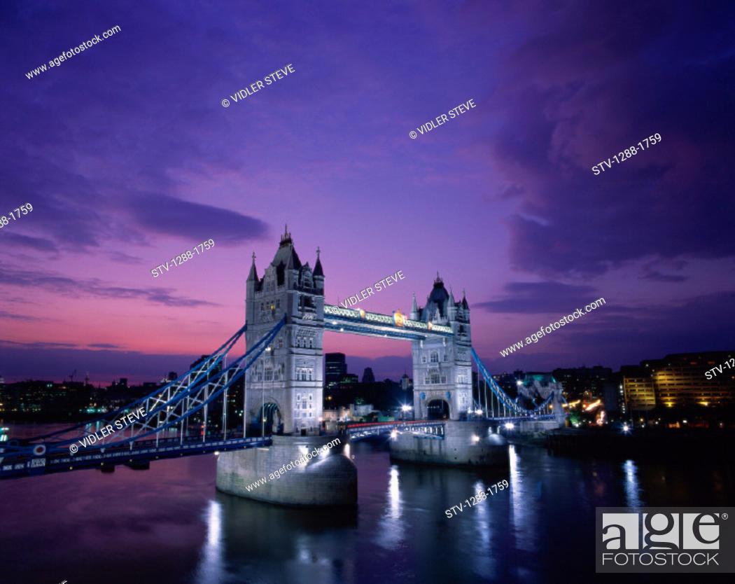 Stock Photo: Bridge, England, United Kingdom, Great Britain, Europe, Holiday, Landmark, London, Night, Tourism, Tower bridge, Towers, Travel,.