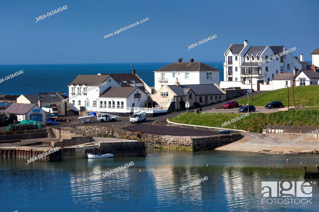 Stock Photo: UK, Northern Ireland, County Antrim, Portballintrae, port view.