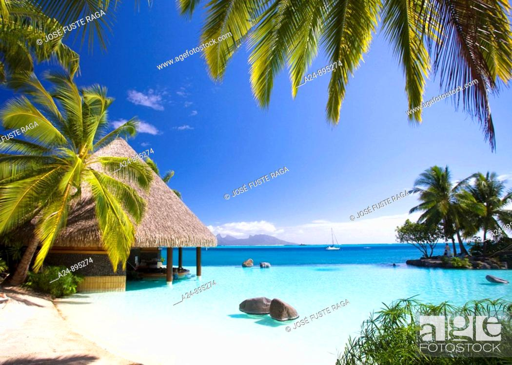 Stock Photo: The sea at the InterContinental resort, Papeete, Tahiti Nui, Tahiti island, Society Islands, French Polynesia (May 2009).
