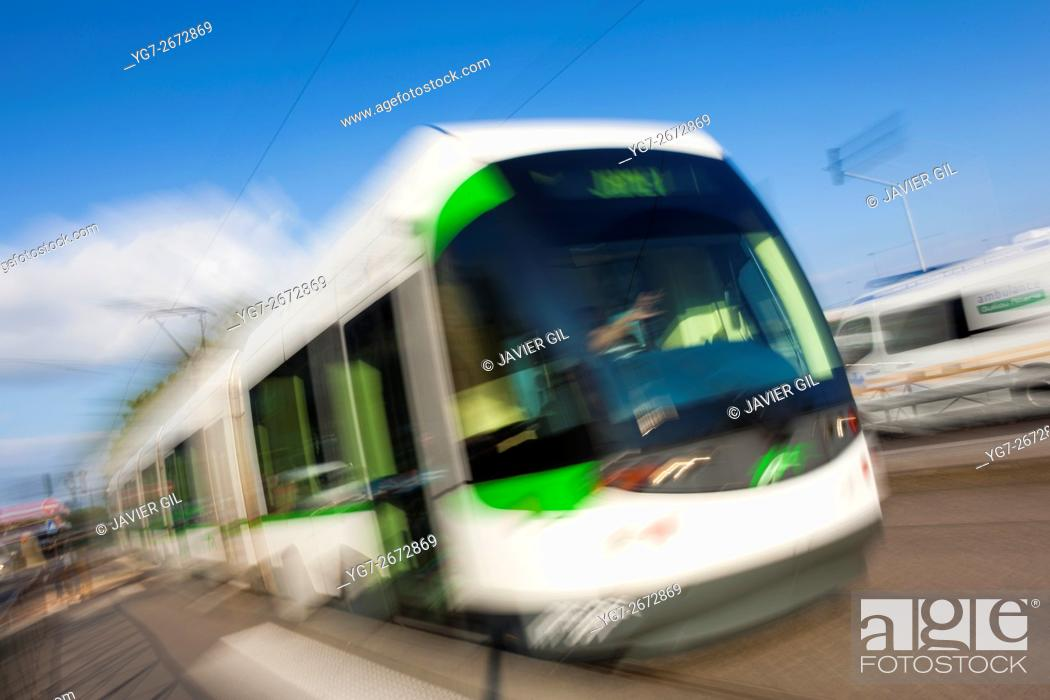 Stock Photo: Nantes Metropole Trams, Nantes, Pays de la Loire, France.