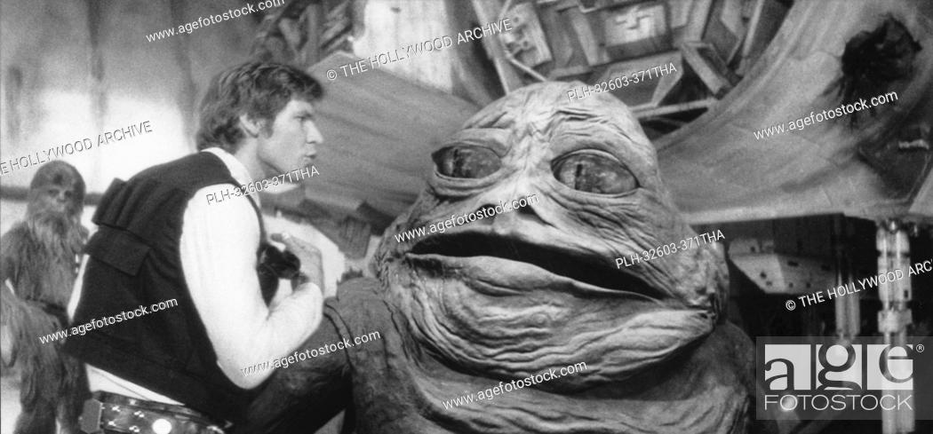 Stock Photo: Harrison Ford and Jabba the Hutt in Star Wars Episode IV: A New Hope, 1977.
