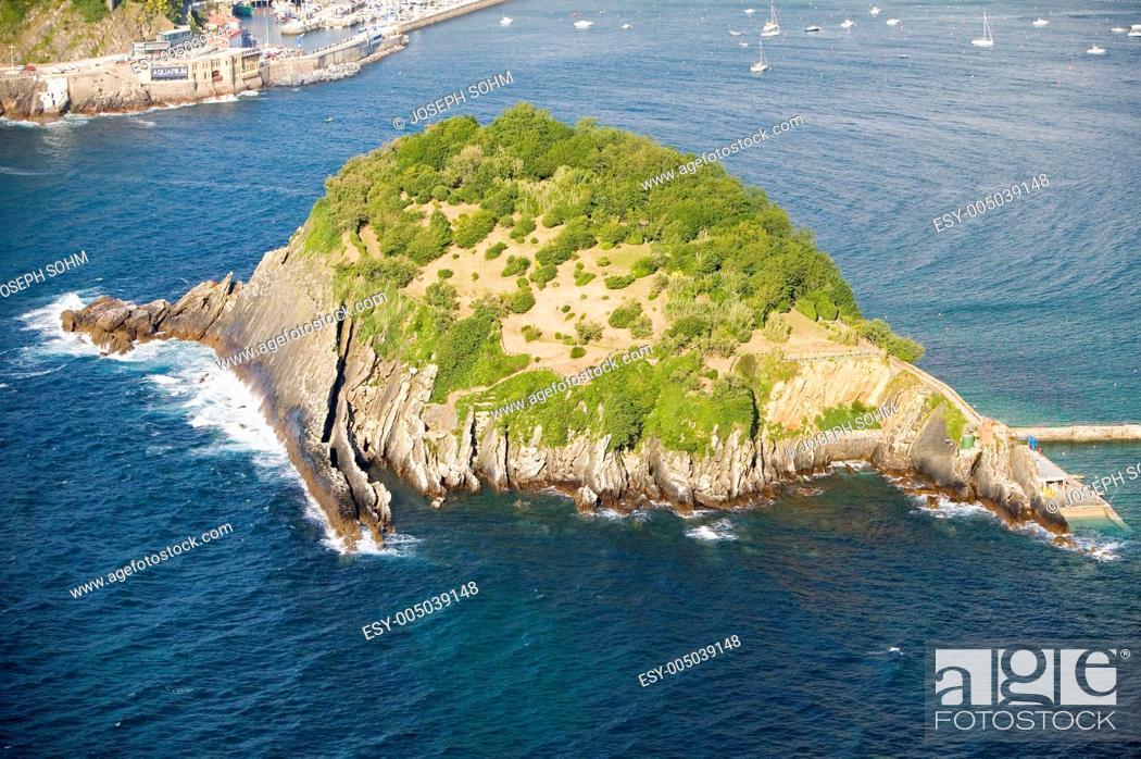 Stock Photo: Isla Santa Clara Island in Bahia de La Concha, Donostia-San Sebastian, Basque region of Spain, the Queen of Euskadis and Cantabrian Coast.