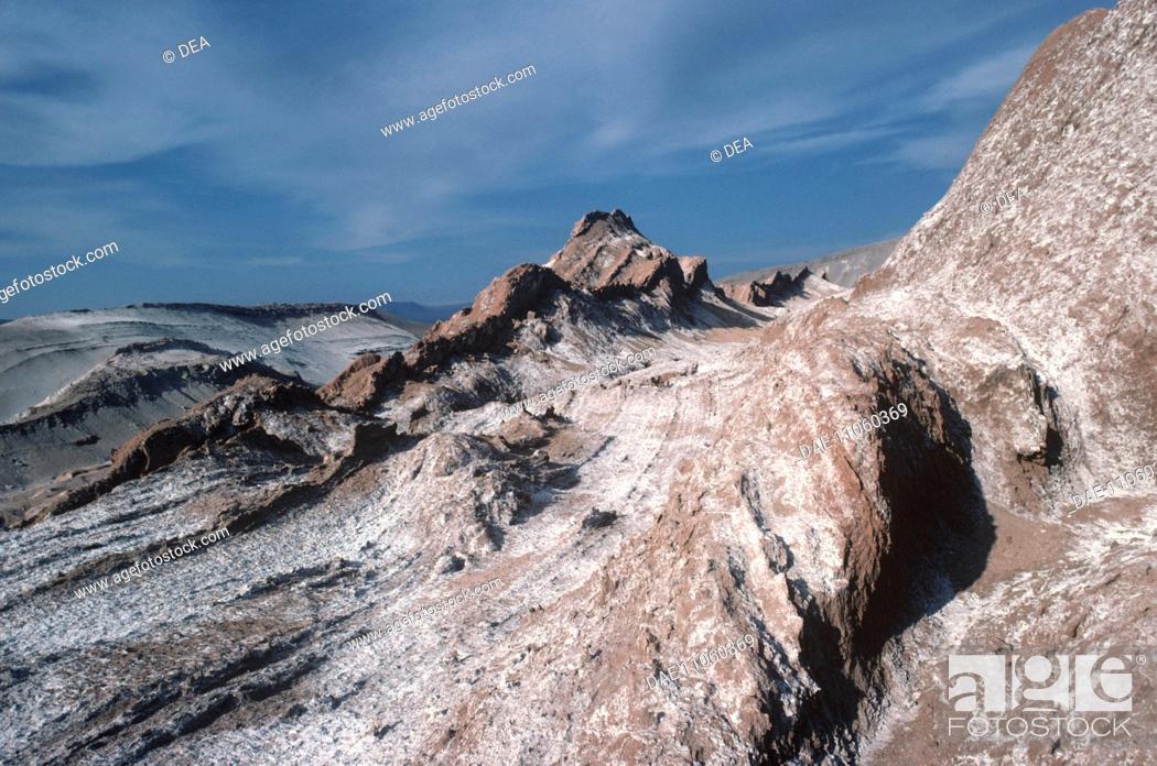 Stock Photo: Chile - Norte Grande - Antofagasta Region - Reserva Nacional Los Flamencos. Valle de la Luna (Moon Valley) in the Atacama desert.