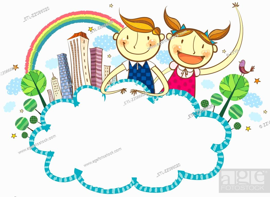 Stock Photo: Happy children portrait against clear cloud.