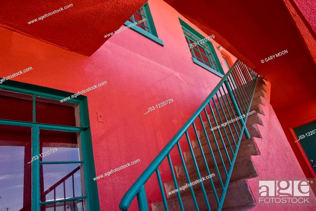 Stock Photo: Stairway at brightly colored apartment building, Truth or Consequences, New Mexico, USA.