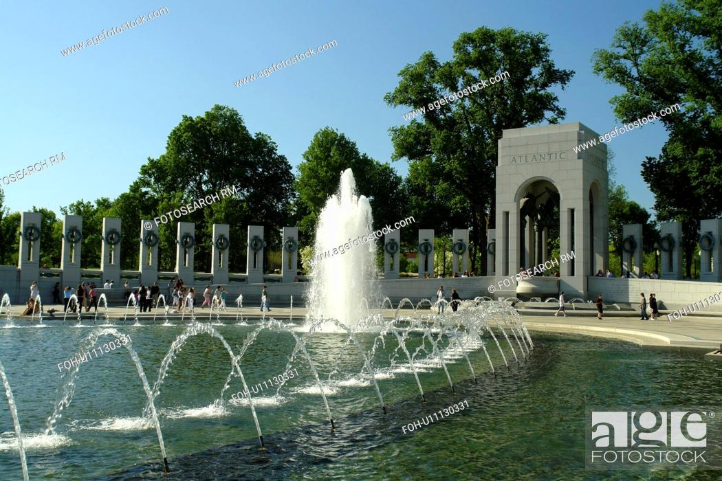 Stock Photo: Washington DC, D.C District of Columbia, World War II Memorial, Atlantic Pavilion, Fountain, National Mall, Memorial Parks, Nation's Capital.