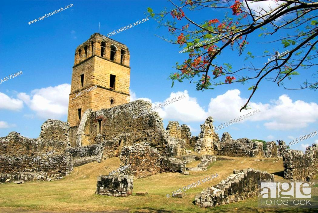 Stock Photo: Panama. Panama city. The ruins of Panama Vieja. Tower of the Cathedral.