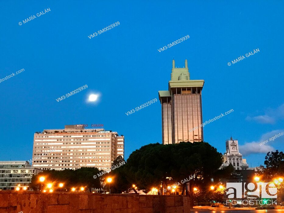Stock Photo: Descubrimiento Square and Jerez Towers, night view. Madrid, Spain.