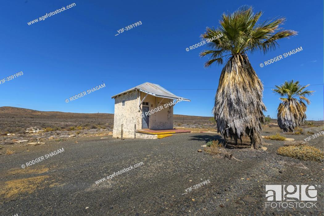 Imagen: The deserted building with neglected palm trees in the rural Great Karoo of South africa. office.