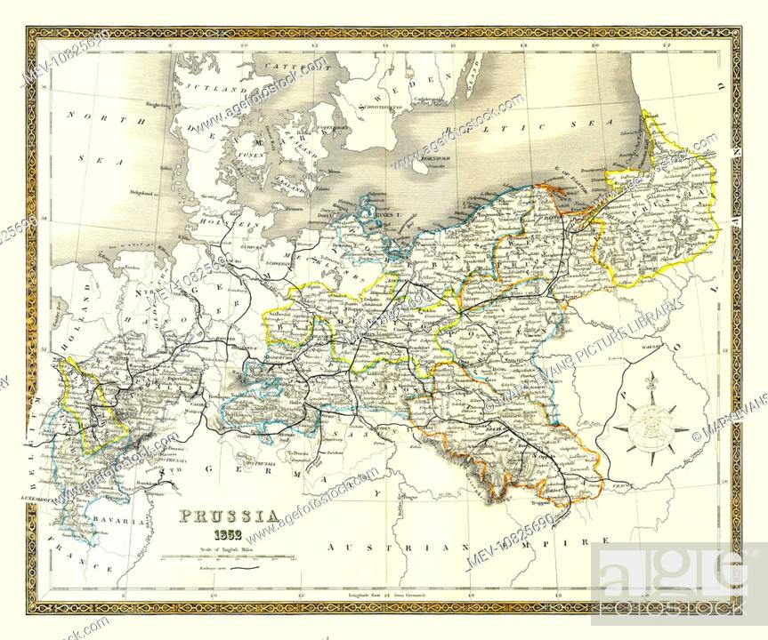 Mid 19th century map of Prussia from the College Atlas of 1852 ... Century College Map on