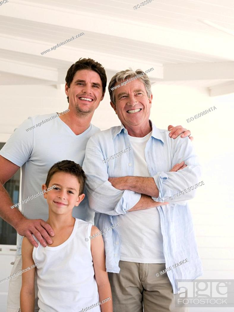 Stock Photo: Boy with father and grandfather.