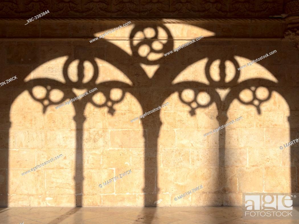 Stock Photo: The two storied cloister. Mosteiro dos Jeronimos (Jeronimos Monastery, Hieronymites Monastery) in Belem, listed as UNESCO world heritage.