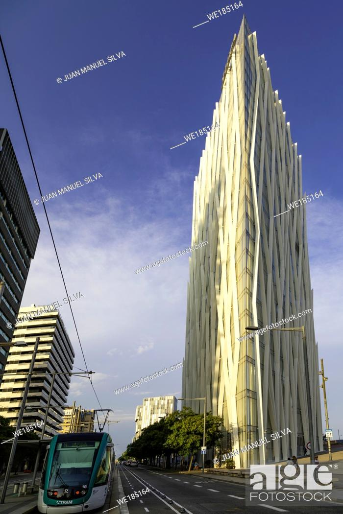 Stock Photo: Torre Diagonal Zero Zero by Massip-Bosch architects 2010, new Telefónica Spanish broadband and telecommunications provider headquarters, Forum district.