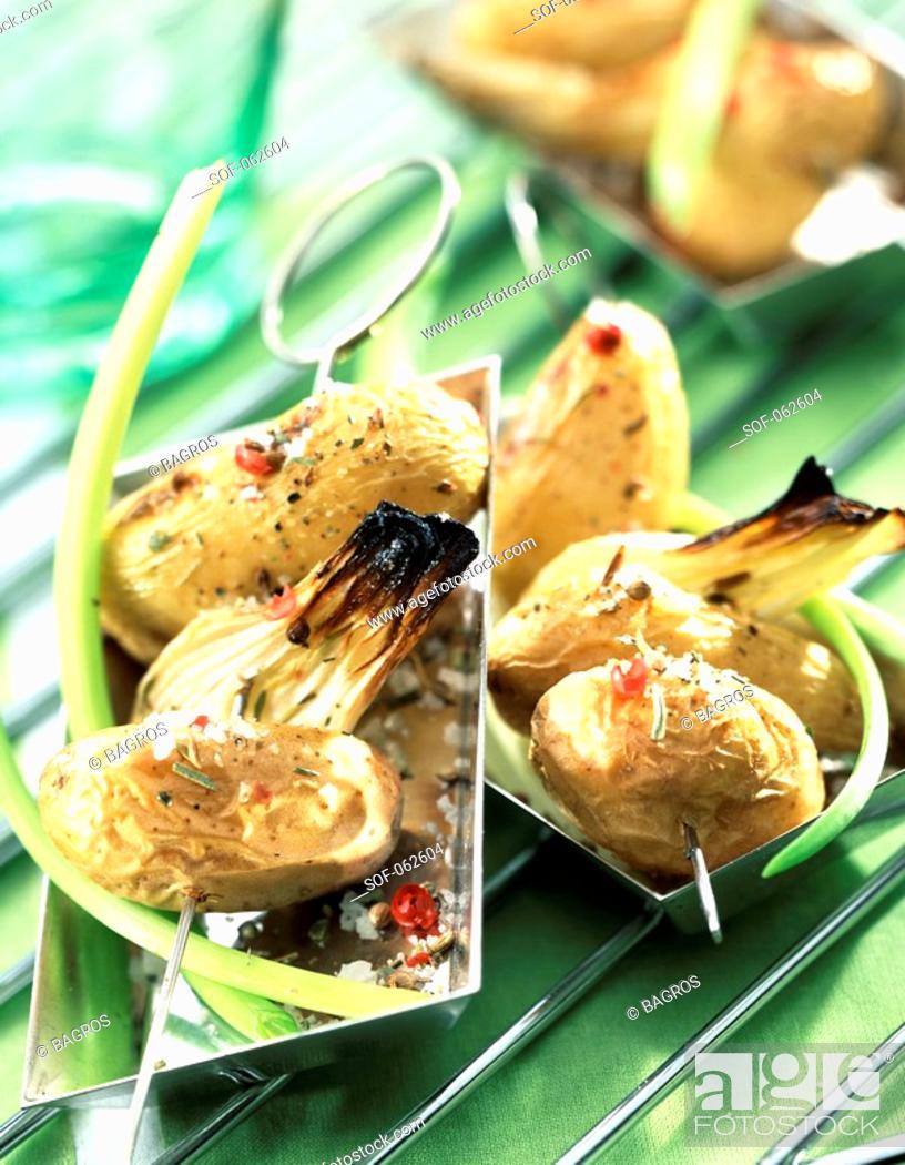 Stock Photo: potato skewers.