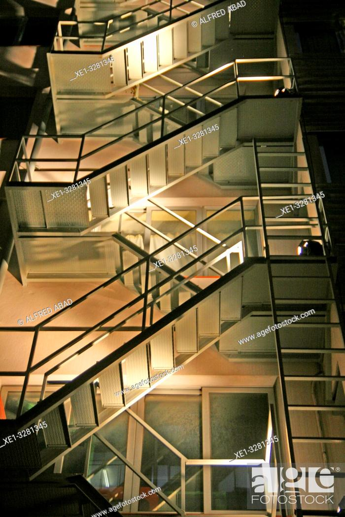 Stock Photo: Illuminated emergency stairs, Llum Bcn 19 festival, Poblenou district, Barcelona, Catalonia, Spain.
