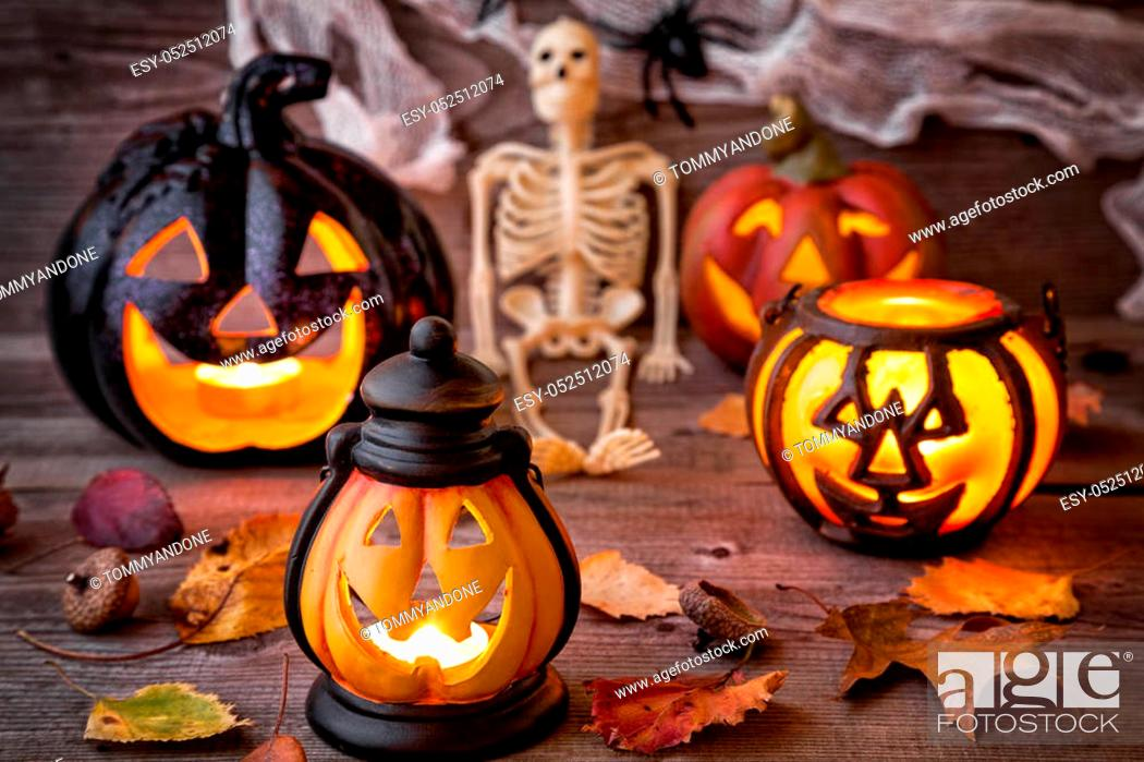 Stock Photo: Traditional, spooky and scary halloween holiday background.