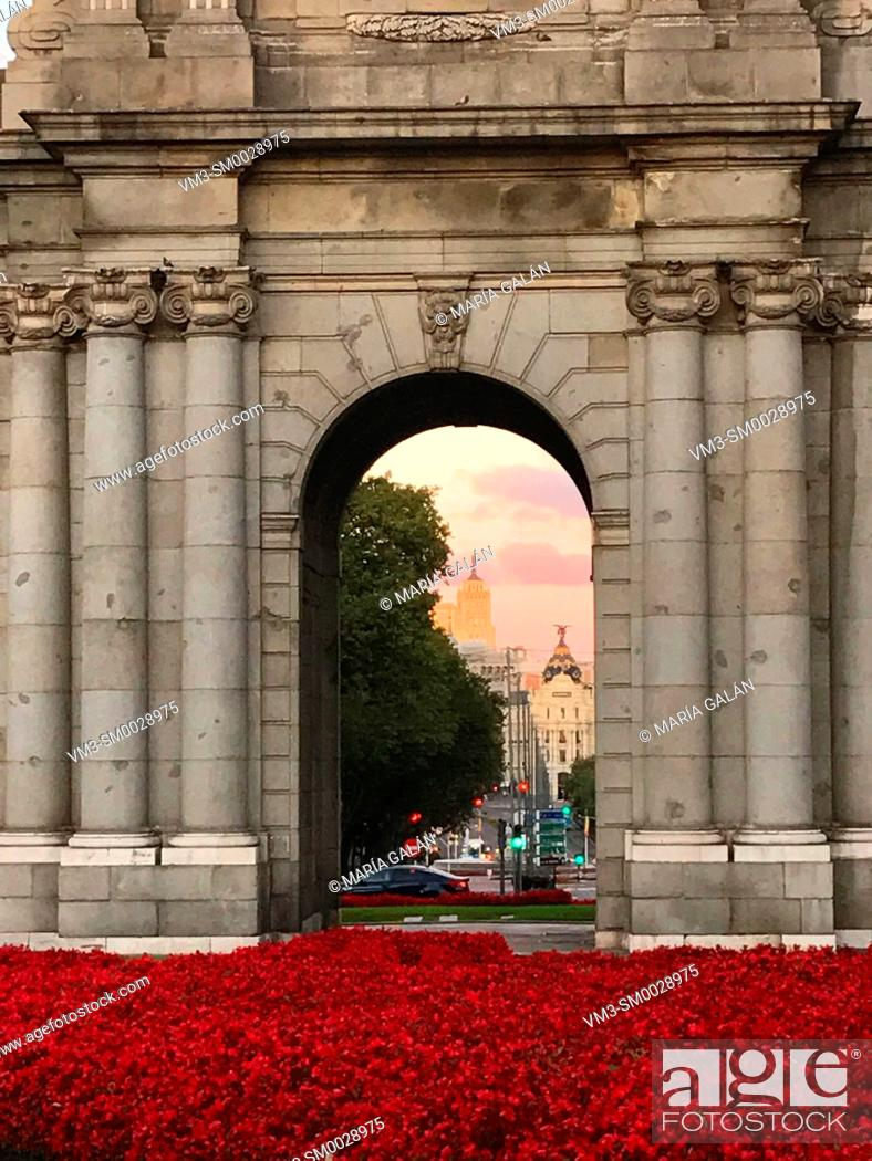 Stock Photo: View from an arch of Alcala Gate. Madrid, Spain.