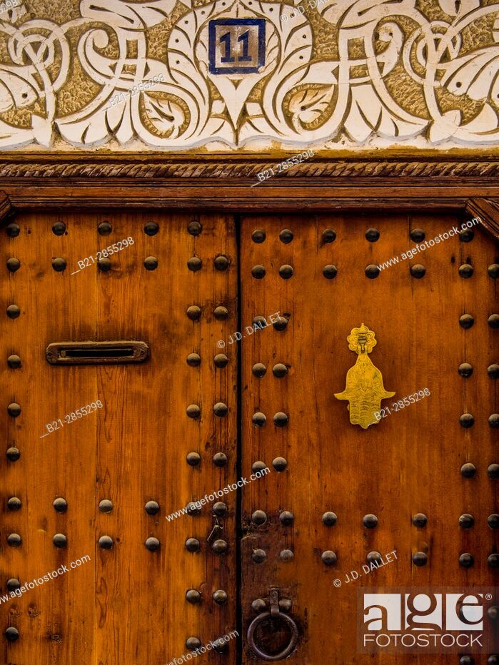 """Stock Photo: Morocco, Fes, doorway in the """"""""Medina"""""""" (old part) of Fes."""