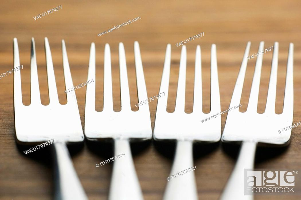Stock Photo: Close-Up, Fork, Four Objects, In A Row.