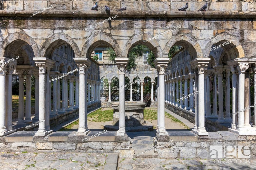 Stock Photo: St Andrew cloister ruins, Garden near Christopher Columbus house, Genoa, Liguria, Italy.