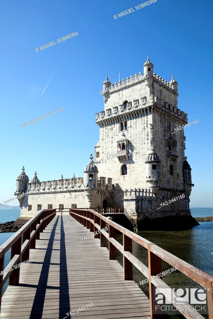 Stock Photo: Torre de Belém Along Tagus River Promenade in Belem, Lisbon - Portugal.
