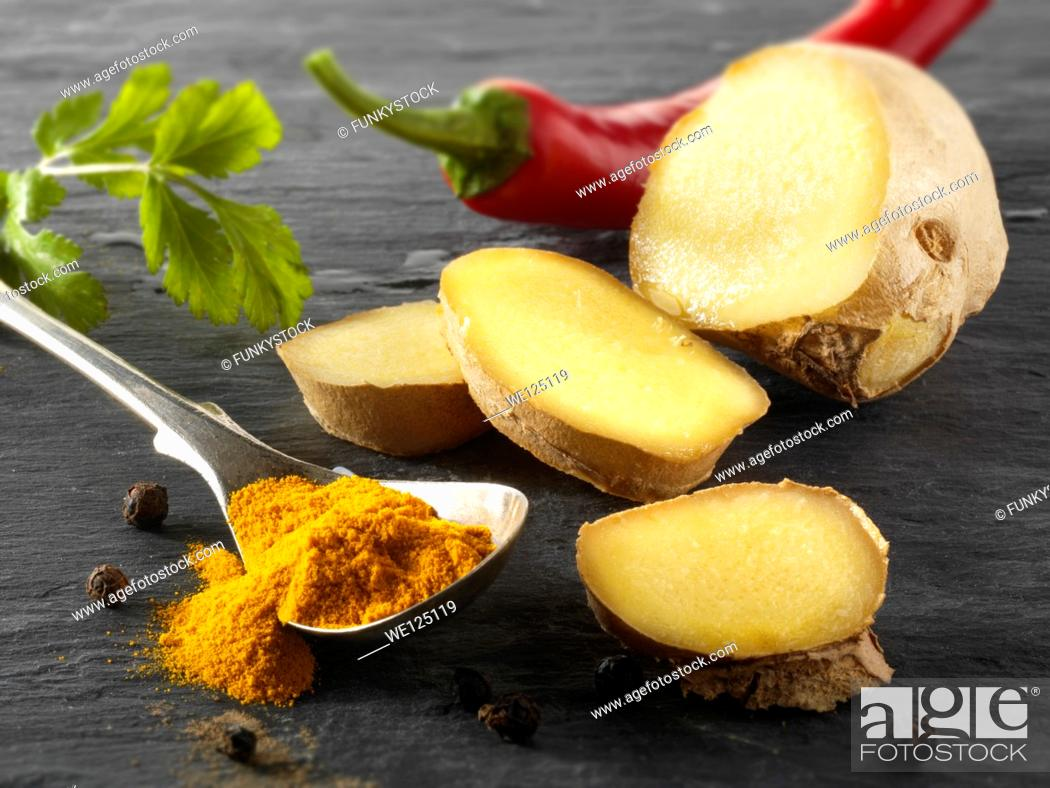 Stock Photo: Fresh ginger root, red chili & ground turmeric. Indian spices.