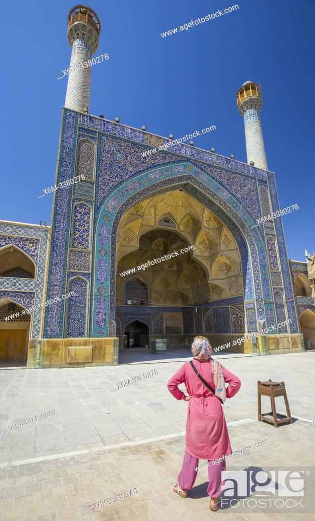 Stock Photo: Woman in south-side iwan. Jameh Mosque. Isfahan, Iran. Asia.
