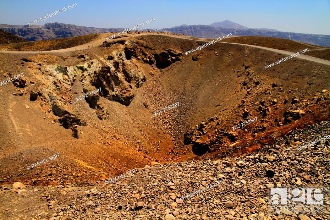 Stock Photo: Nea Kameni volcanic Island, Santorini/Thera, Greece.