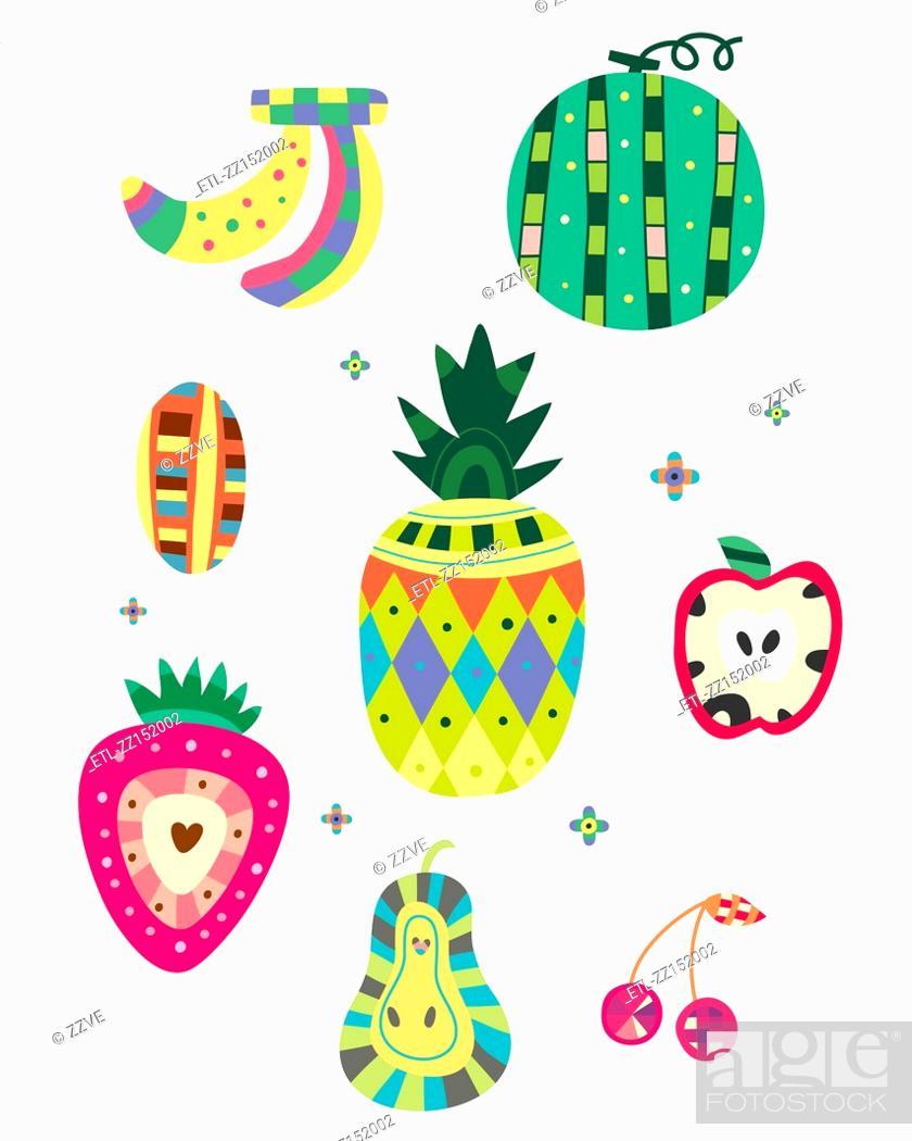 Stock Photo: various kinds of fruit.