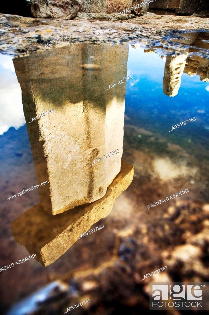 Stock Photo: Taula de Torralba. Prehistoric Village of Torralba d en Salord. Minorca. Balearic Islands.Spain.