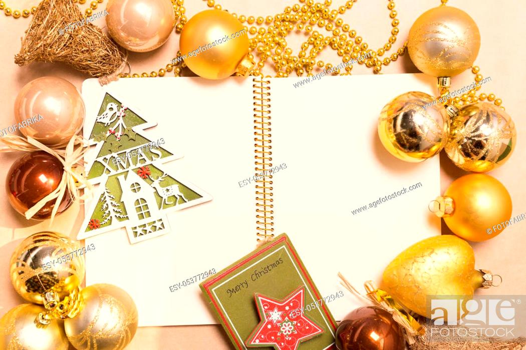 Stock Photo: Greeting card mock up with christmas ornaments.