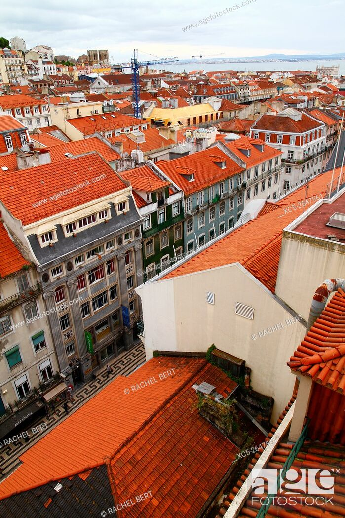 Stock Photo: View from Elevador de Santa Justa, Lisbon, Portugal.