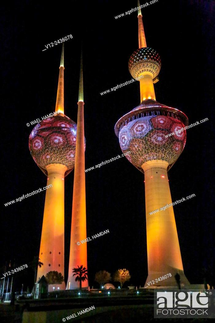 Stock Photo: Lights show at Kuwait Towers at night, Kuwait, Kuwait City.