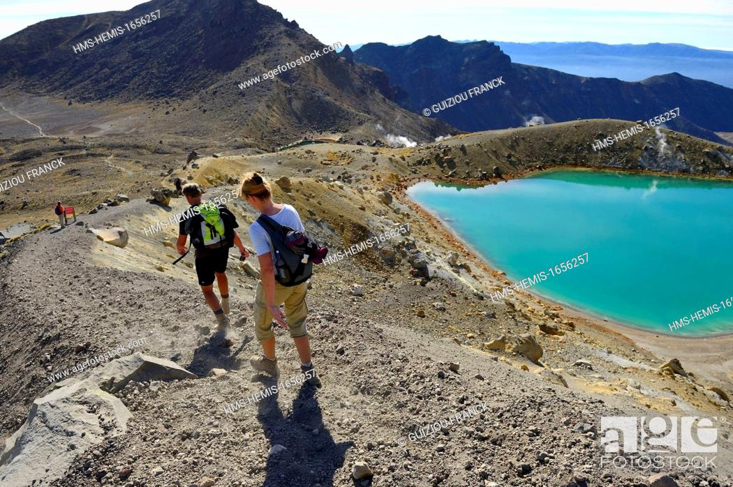 Stock Photo: New Zealand, North Island, Tongariro National Park is the first national park in New Zealand and the fourth to emerge globally (UNESCO World Heritage) ; the.