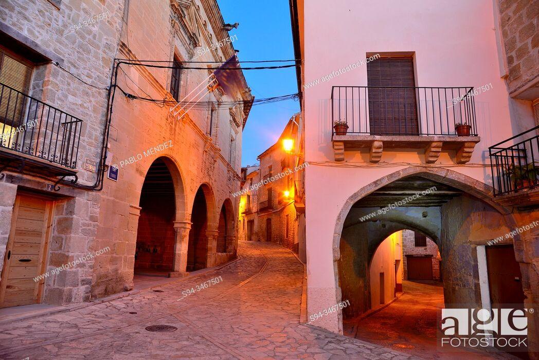 Stock Photo: Main square of Torre del Compte, Matarraña, Teruel, Spain.