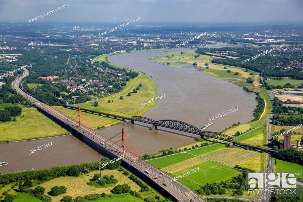 Stock Photo: Aerial view, Rheinbogen, Rhine between Duisburg Baerl and Beeckerwerth, Flood, Railway Bridge, A42 motorway bridge, Duisburg, Ruhr district.