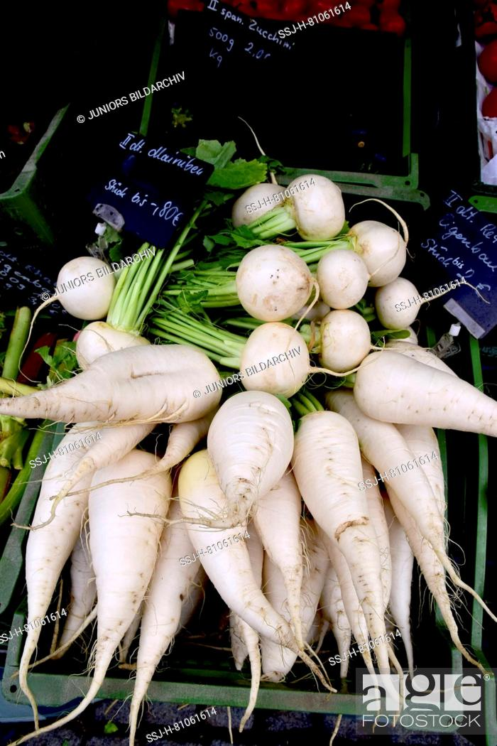 Stock Photo: market stall offering Radish.