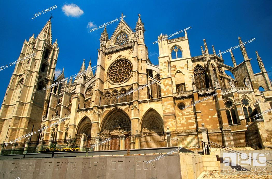 Stock Photo: Cathedral of León, León, Spain.