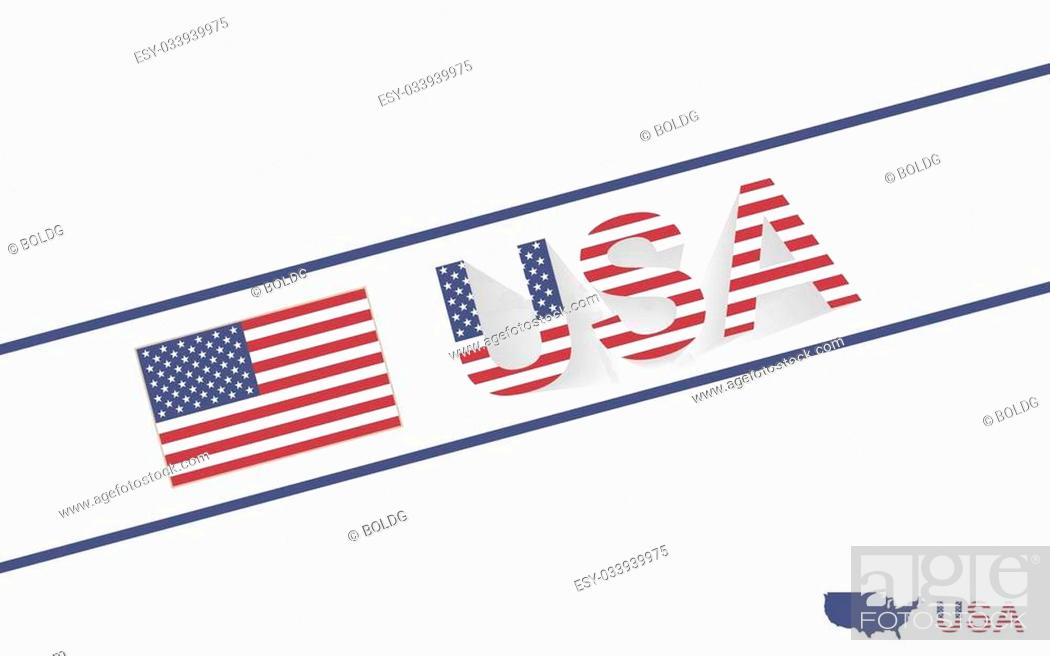 Vector: USA map flag and text illustration, on world map.