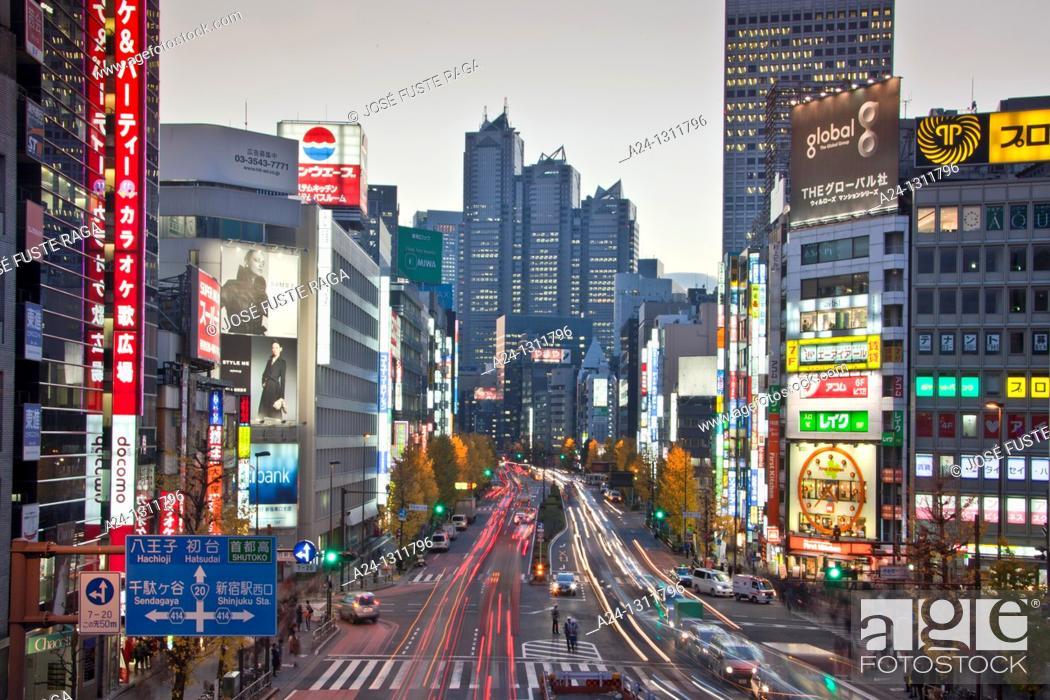 Stock Photo: Tokyo City, Shinjuku District, Koshukaido Avenue.