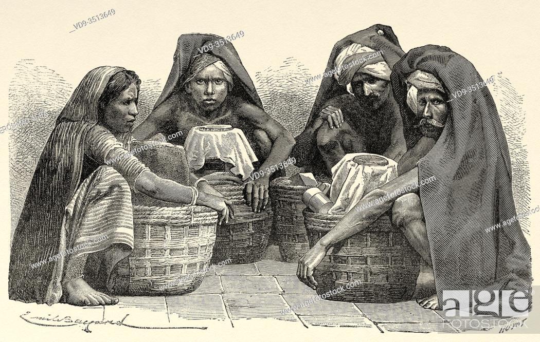 Photo de stock: Portrait of Milk sellers in Madras, India. Old engraving illustration from El Mundo en la Mano 1878.