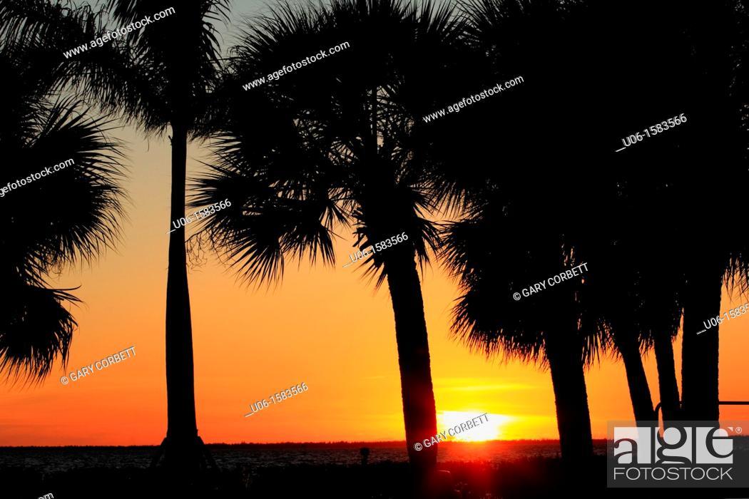 Stock Photo: A Charlotte Harbor sunset at Punta Gorda Florida USA.