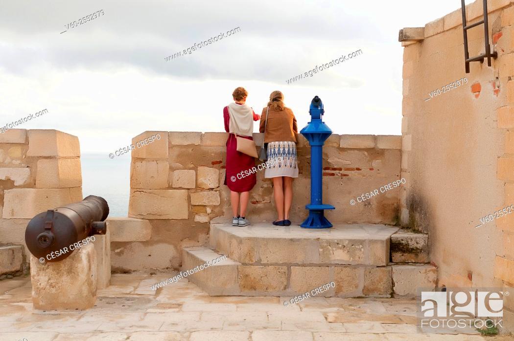 Stock Photo: -Tourists in Santa Barbara Castle- Alicante Spain.