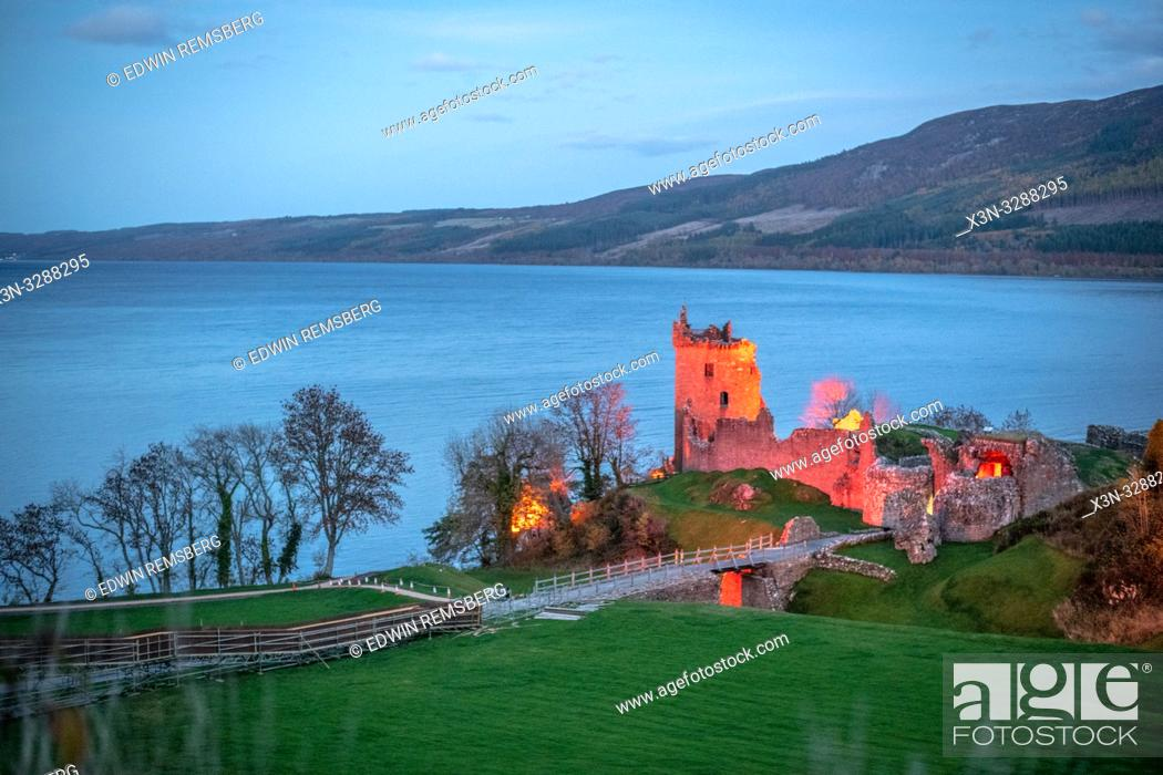 Stock Photo: Urquhart Castle sits beside Loch Ness in the Highlands of Scotland near Loch Ness in Scotland, United Kingdom.