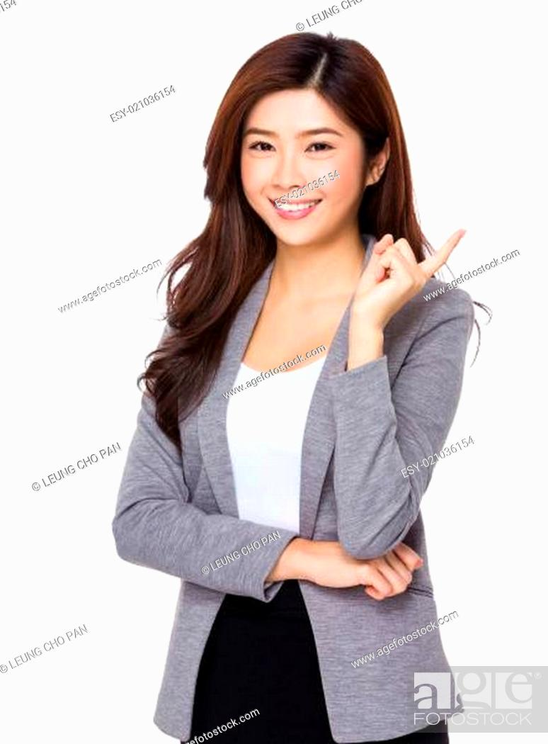 Stock Photo: Businesswoman think of an idea.