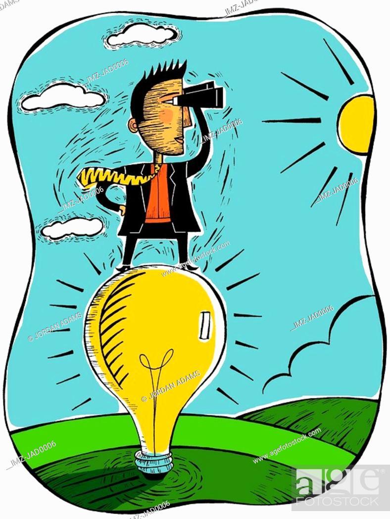 Stock Photo: Businessman standing on a large lightbulb.