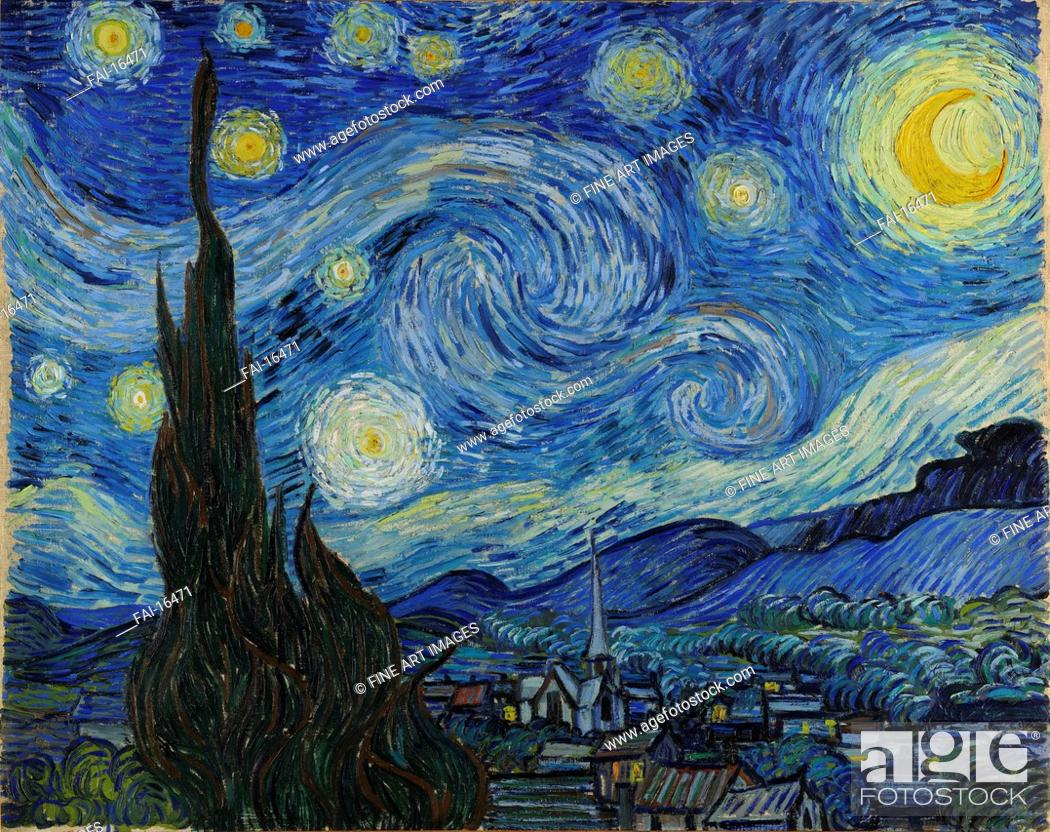 Stock Photo: The Starry Night. Gogh, Vincent, van (1853-1890). Oil on canvas. Postimpressionism. 1889. © Museum of Modern Art, New York. 73,7x92,1. Painting.