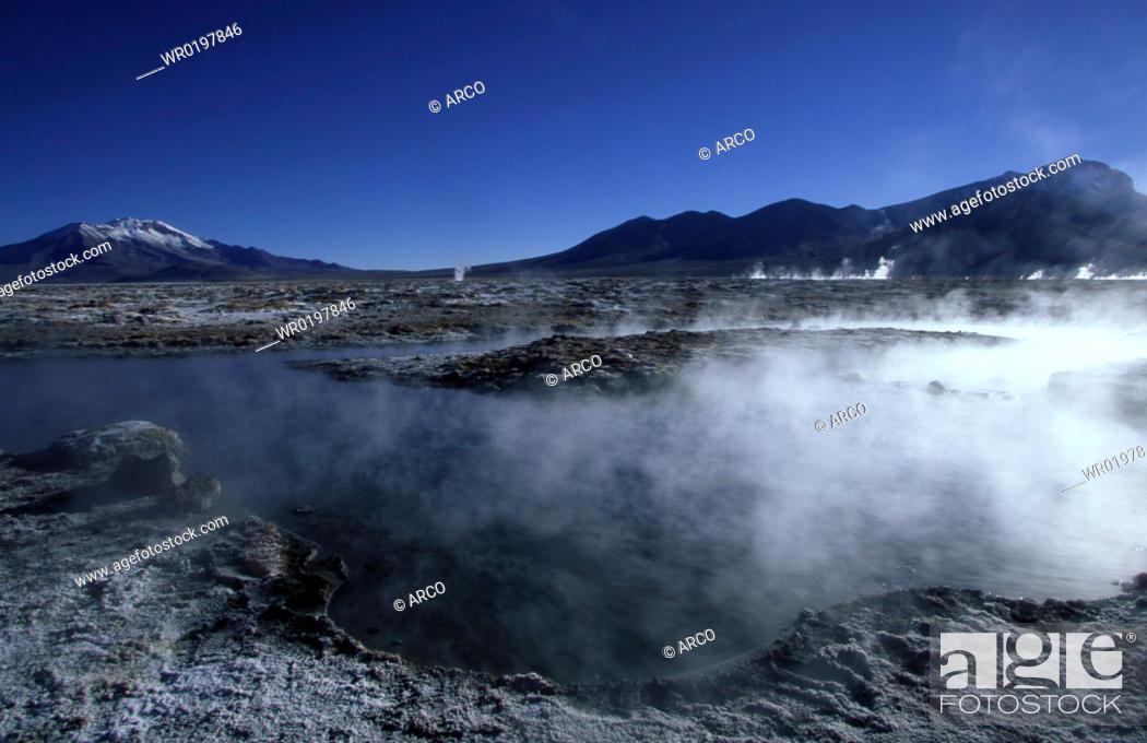 Stock Photo: Salar, de, Surire, Altiplano, Chile, Patagonia.