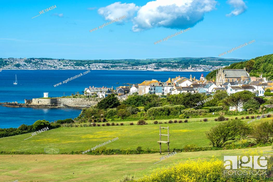 Stock Photo: The characterful village of Marazion (St Michael's Mount) with Penzance on the horizon, Cornwall, England, UK.