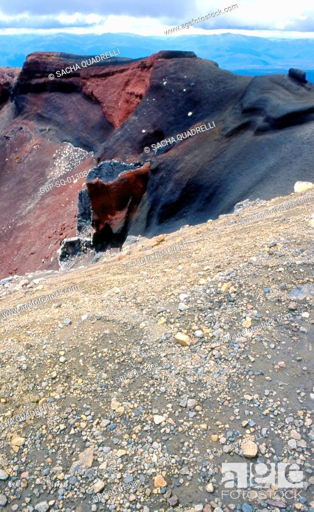 Stock Photo: Volcanic formations, Tongariro National Park, North Island, New Zealand.
